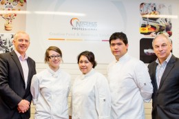 William Angliss Institute chief executive officer Nicholas Hunt, scholarship winners Ashley Kinnersly-King, Natalia Nuyerepon and Cristian Campos and country business manager for Nestle Professional Oceania Pat Stobbs.